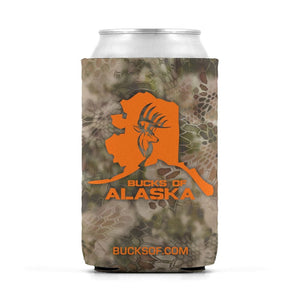 Bucks of Alaska Can Koozie Orange / Camo - Bucks of America