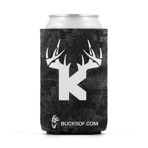 Bucks of Kansas Can Koozie White / Black