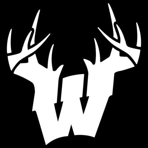 Wisconsin W Antlers Decal - White - Decal
