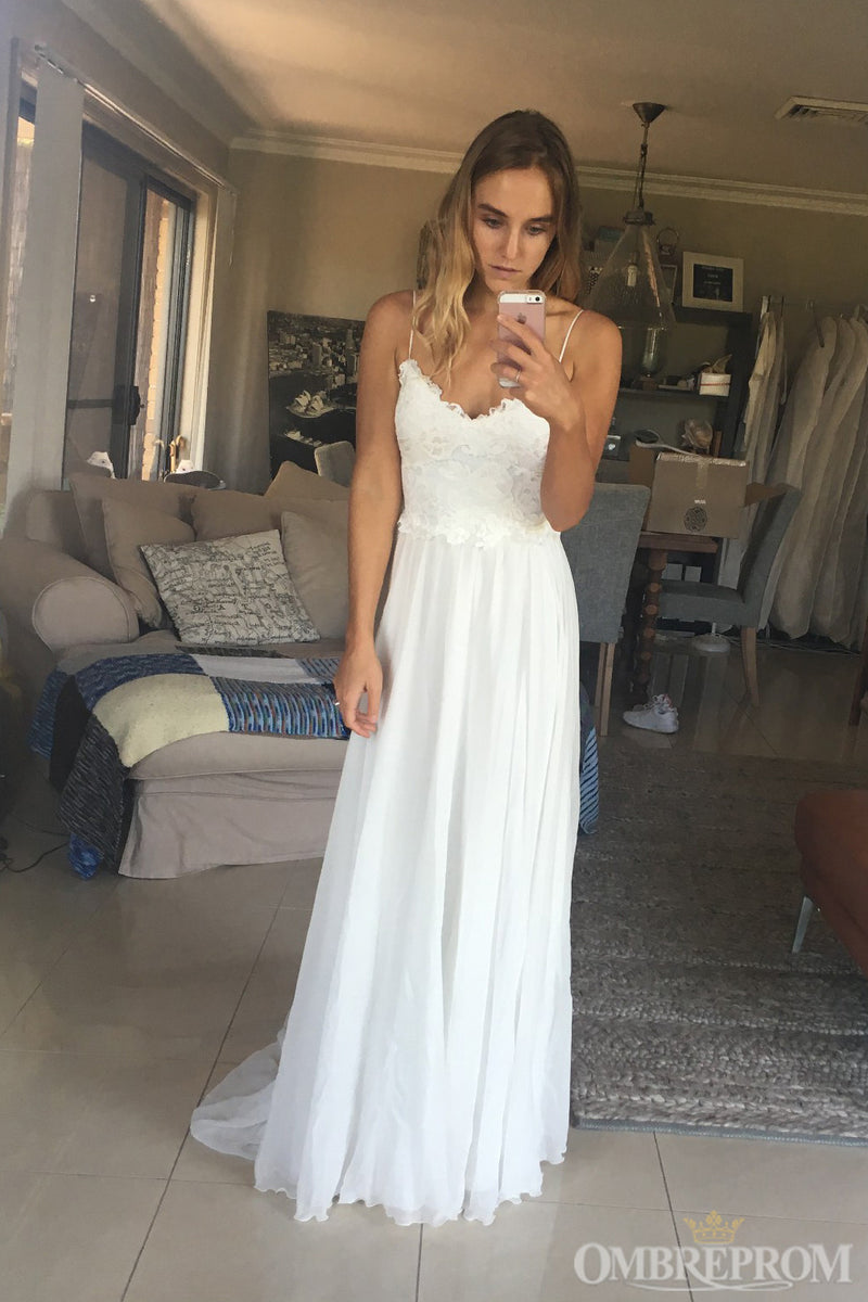 Spaghetti Straps V Neck Lace Wedding Dresses Bridal Gown W630