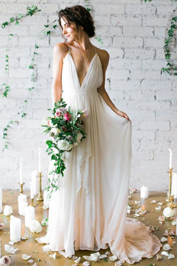 Chic Spaghetti Straps Backless V Neck Floor Length Wedding Dresses W351