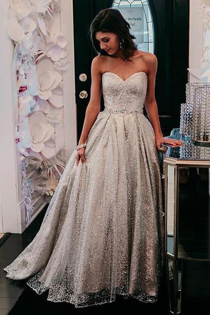 Sparkly A-line Sweetheart Silver Prom Dresses Long Formal Gown D388