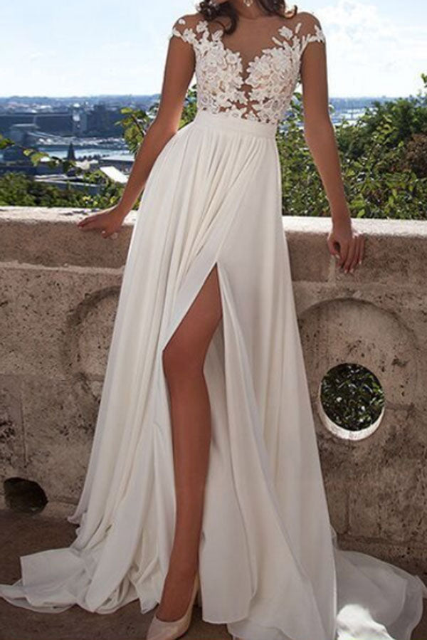 Romantic Cap Sleeves Lace Bodice Split Side Chiffon Wedding Dress W311