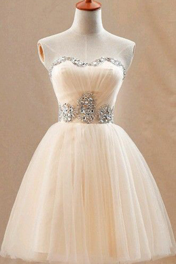 Elegant A-Line Sleeveless Knee Length With Sequins Homecoming Dress M469