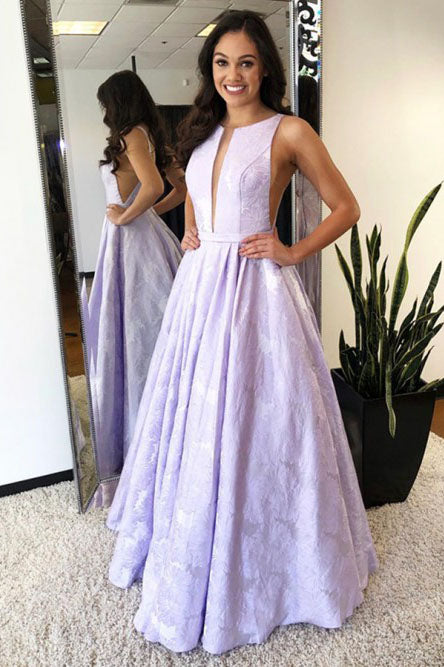 Charming Sleeveless Round Neck A Line Long Prom Dress D356