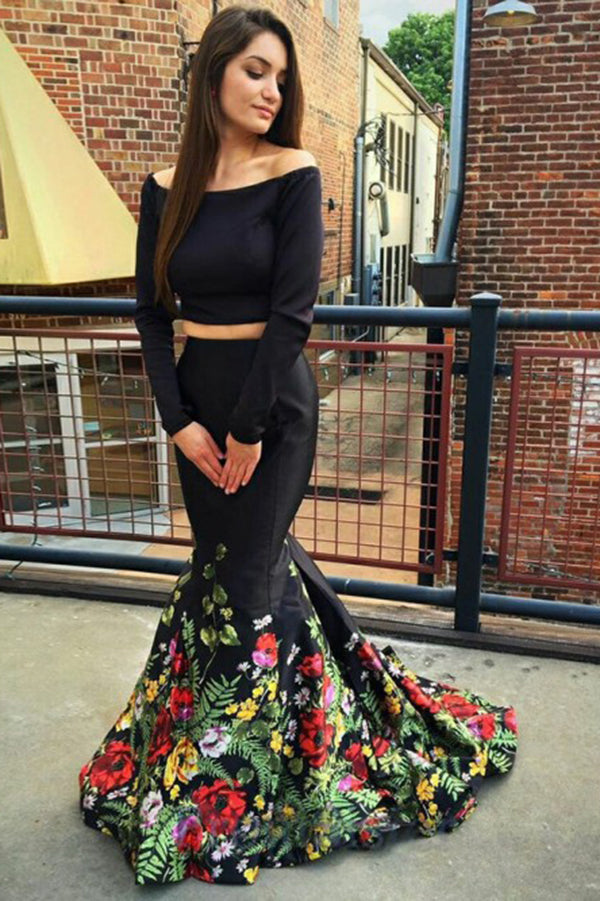 Chic Off Shoulder Satin Mermaid Two Piece Prom Dress D380