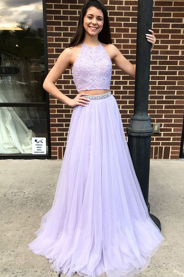Chic Two Piece Low Back Halter Tulle Long Prom Dress D357