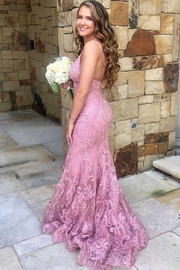 Spaghetti-straps Mermaid Lace Prom Dresses Pink Graduation Gown D389