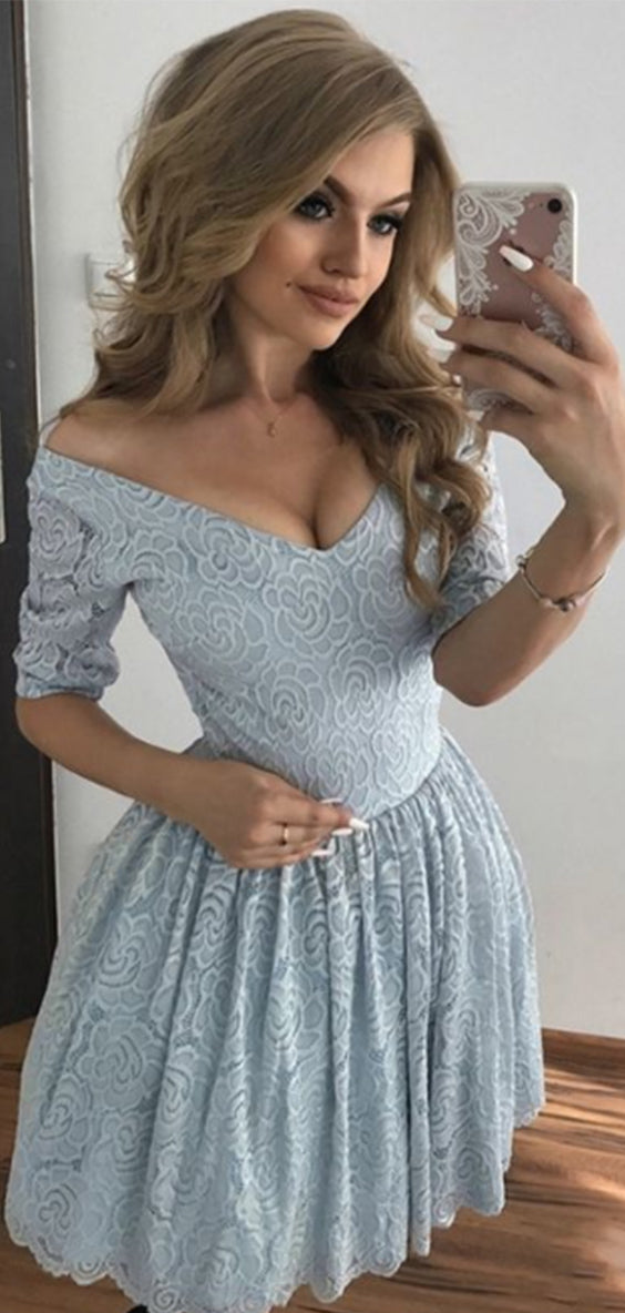 Chic V Neck Half Sleeves A Line With Appliques Homecoming Dress M569