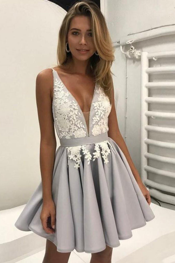 Light Lavender Deep V Neck Short Prom Dress,Sleeveless Appliques Cheap Homecoming Dress