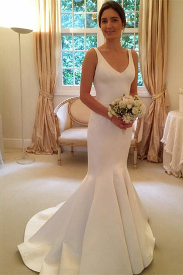Simple V Neck Backless Satin Sweep Train Sleeveless Mermaid Wedding Dress W545