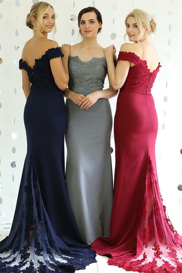 Charming Mermaid Off the Shoulder Lace Appliques Bridesmaid Dress B408 - Ombreprom