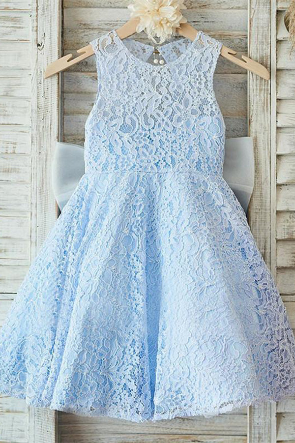 Round Neck Open Back Lace Appliques With Bowknot Flower Girl Dresses F82
