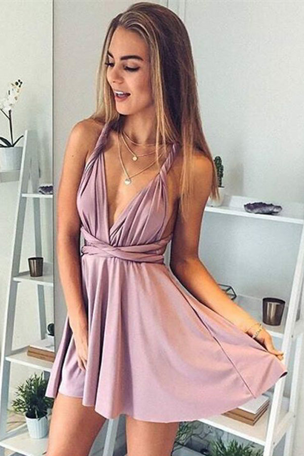 Soft Halter Sleeveless Homecoming Dress,Deep V Neck X Back Short Prom Dress