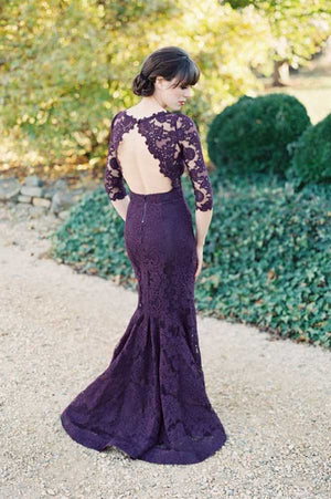 Purple Trumpet Sweep Train Jewel Neck 3/4 Sleeve Keyhole Back Appliques Cheap Bridesmaid Dress