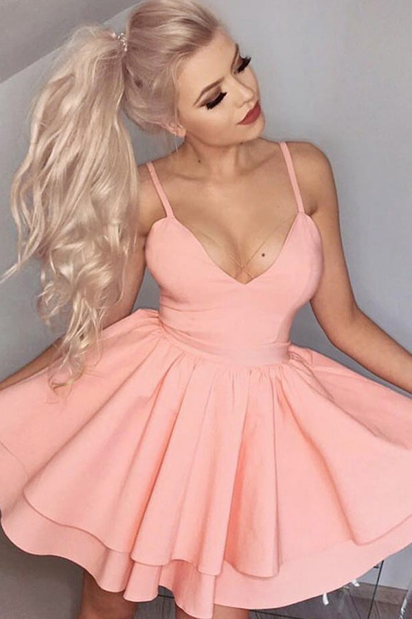 Pink A Line Sweetheart Spaghetti Sleeveless Short Homecoming Dress