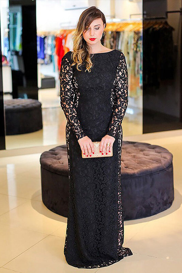 Black Sheath Brush Train Long Sleeve Backless Lace Plus Size Prom Dresses S21 - Ombreprom