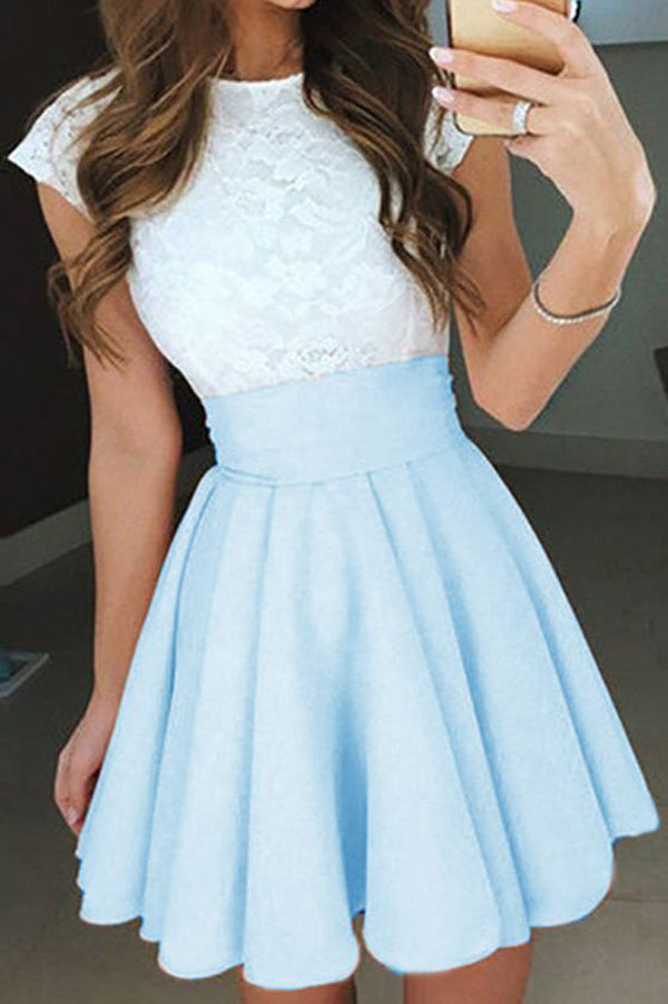 A Line Jewel Neck Capped Sleeve Keyhole Back Appliques Short Homecoming Dress H265 - Ombreprom