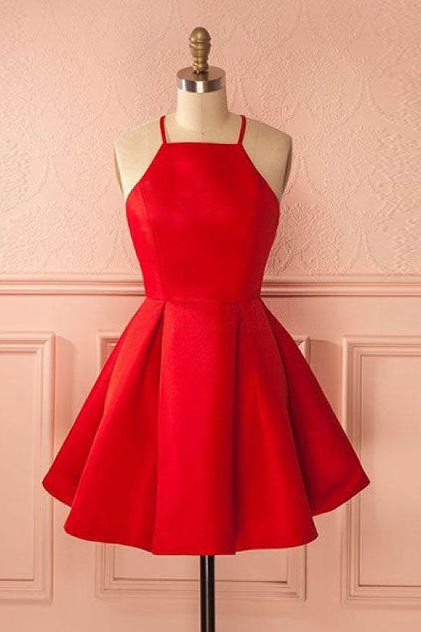 Red A Line Halter Sleeveless Homecoming Dress,Short/Mini Prom Dress