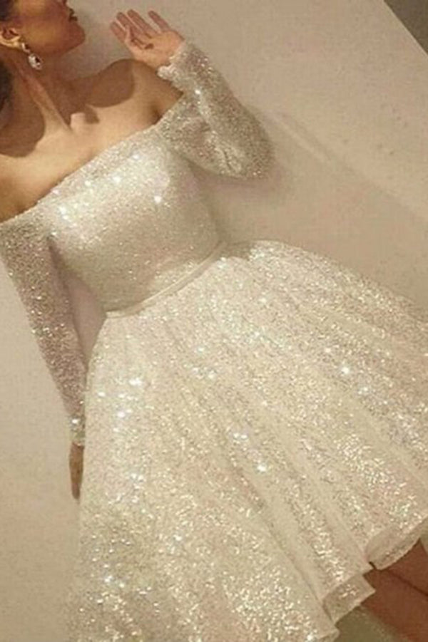 Stunning Beading Off the Shoulder Long Sleeves Prom Dress P686