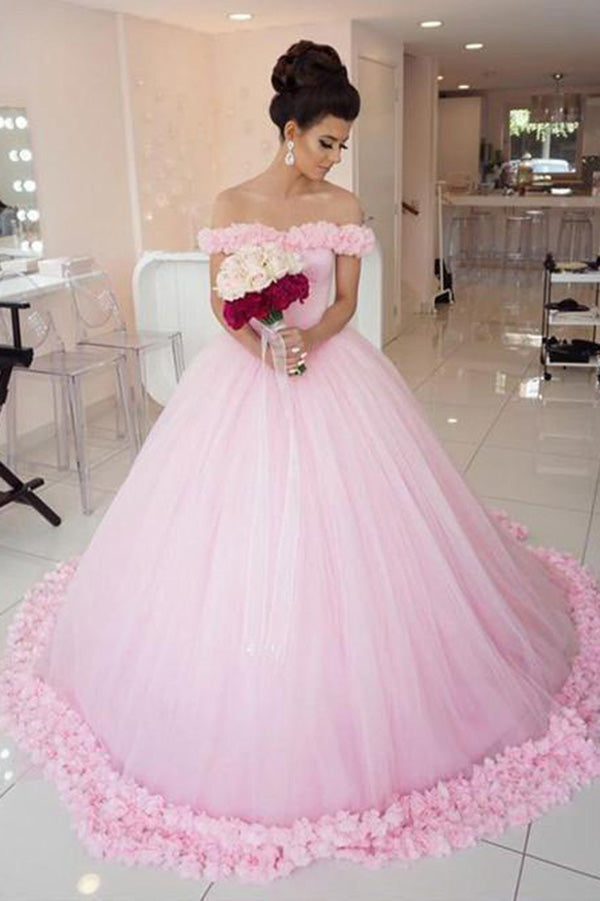 Charming Off the Shoulder With Handmade Flower Wedding Dresses W359 - Ombreprom
