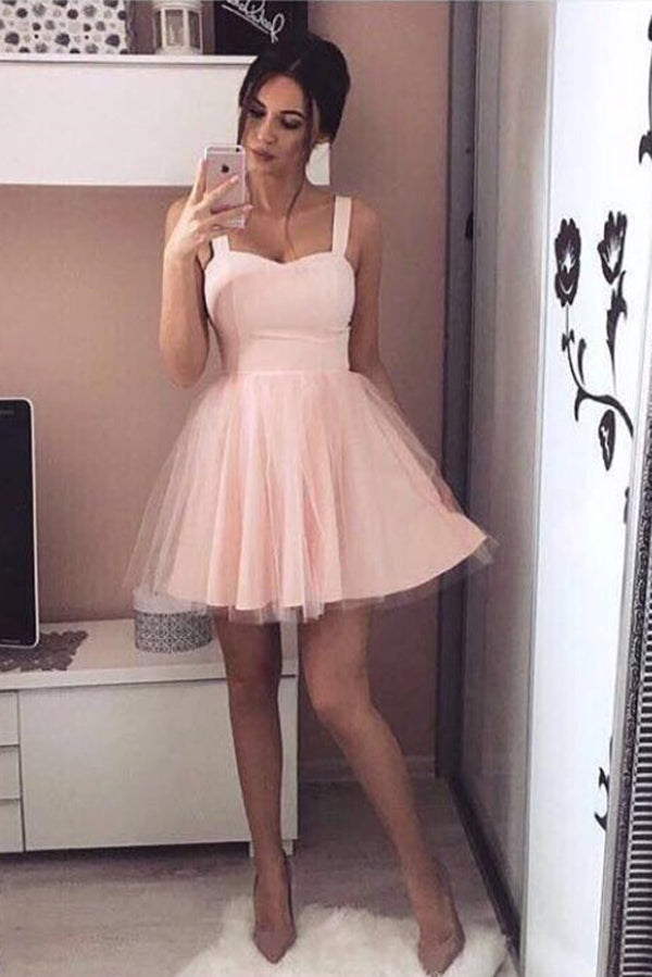 Pink Sweetheart Straps Sleeveless Homecoming Dress,A Line Short Prom Dress H219 - Ombreprom
