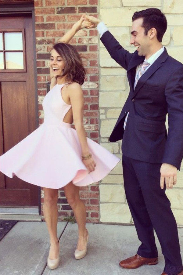 Pink A Line Halter Sleeveless Homecoming Dress,Backless Short/Mini Prom Dress