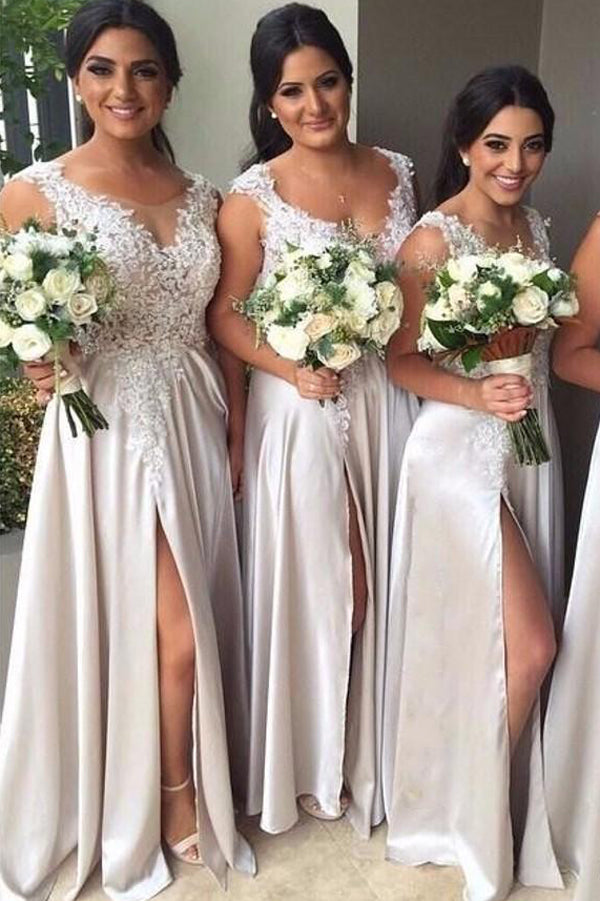 A Line Floor Length Sleeveless Side Slit Appliques Bridesmaid Dress, Wedding Party Dress B314 - Ombreprom