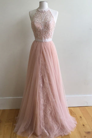 Pink A Line Floor Length Sleeveless Halter Appliques Tulle Prom Dress,Evening Dress