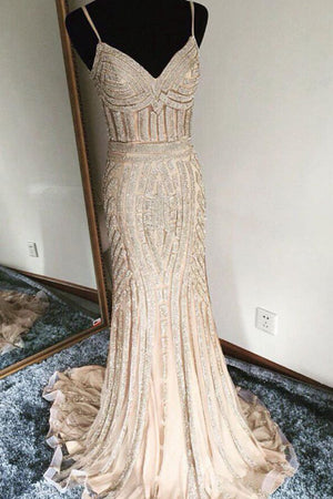 Luxurious Trumpet Sweep Train Sweetheart Spaghetti Sleeveless Beading Evening/Prom Dress P70