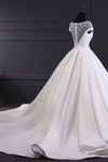 Chic Round Neck Lace Satin Short Sleeves Long Ball Gown Formal Wedding Dress W445