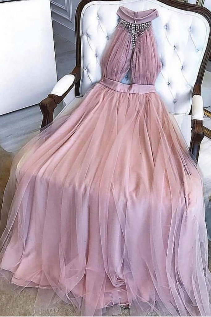 A-line High Neck Dusty Pink Prom Dresses Long Beading Formal Dress D386