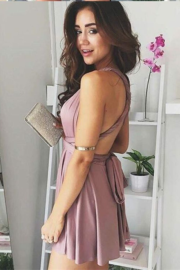 Soft Halter Sleeveless Homecoming Dress,Deep V Neck X Back Short Prom Dress H194