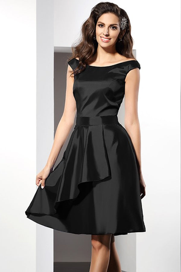 Black A Line Scoop Capped Sleeve Taffeta Short Bridesmaid Dress, Wedding Party Dress B325 - Ombreprom