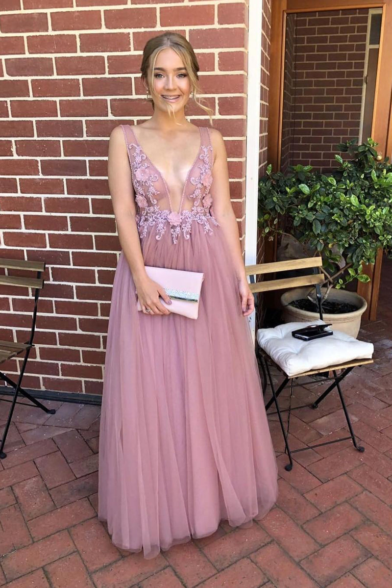 A-line V-neck Long Prom Dresses Tulle Formal Dress with Appliques D393