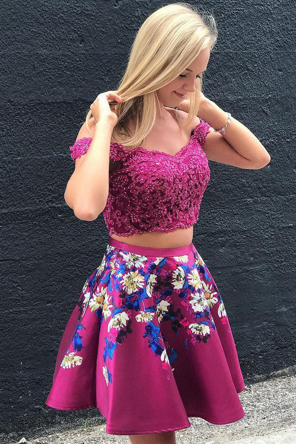 Off Shoulder Two Piece Short Prom Dresses Floral Print Homecoming Dresses M704
