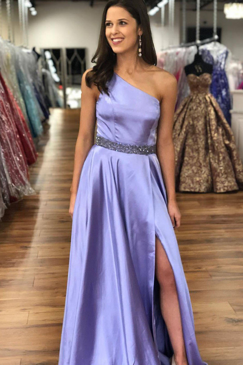 Simple One Shoulder Sleeveless Prom Dress with Sequins D364