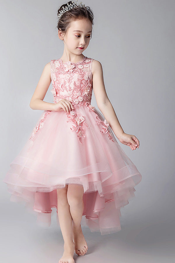 Elegant Round Neck High Low Sleeveless Tulle With Appliques Flower Girl Dresses F78