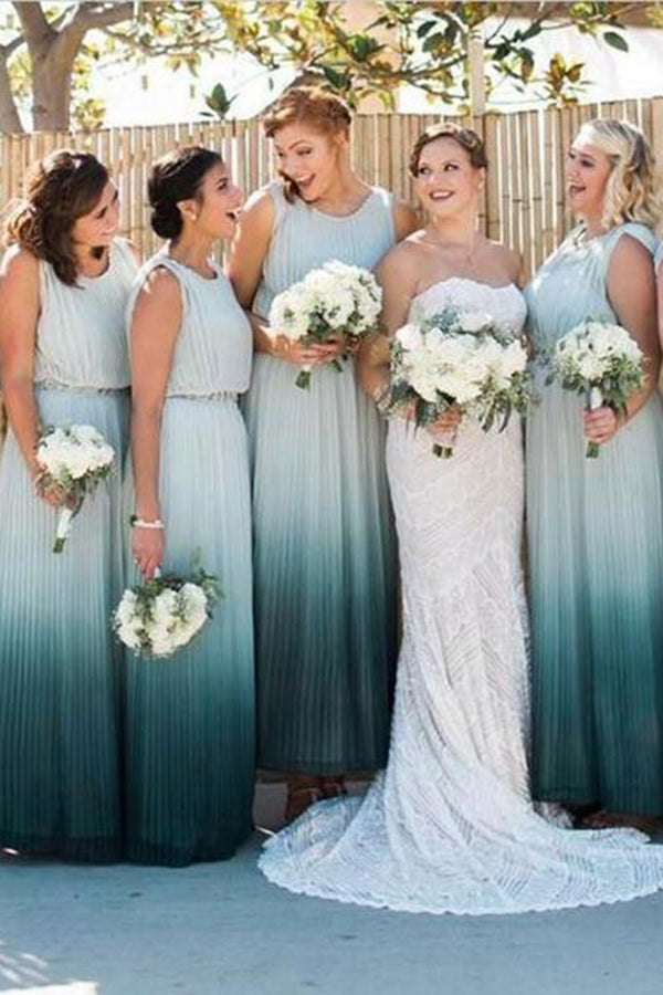 Cute Ombre Round Neck Sleeveless Floor Length Bridesmaid Dress B443