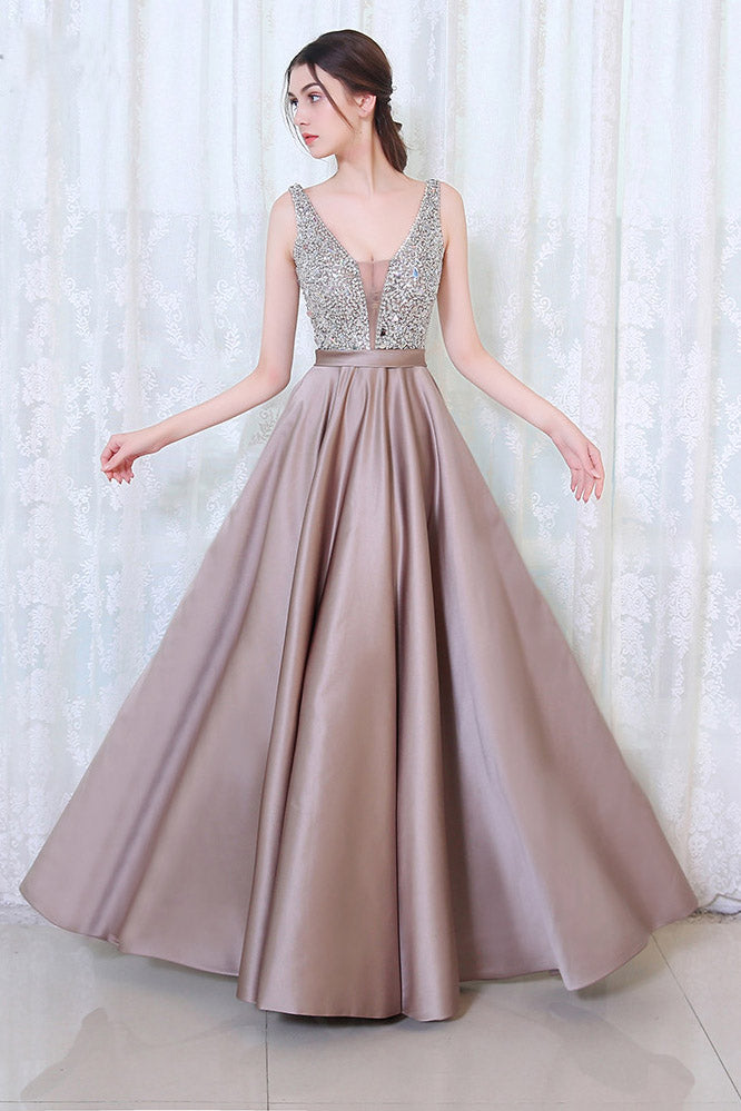 Gorgeous V Neck Satin Sleeveless Prom Dresses with Sequins P987
