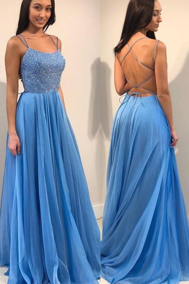 Blue Spaghetti Straps Backless Prom Dress with Sequins D359