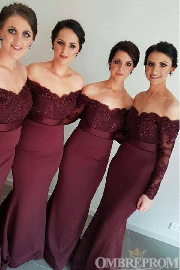 Burgundy Off Shoulder Long Sleeves Mermaid Bridesmaid Dress B503