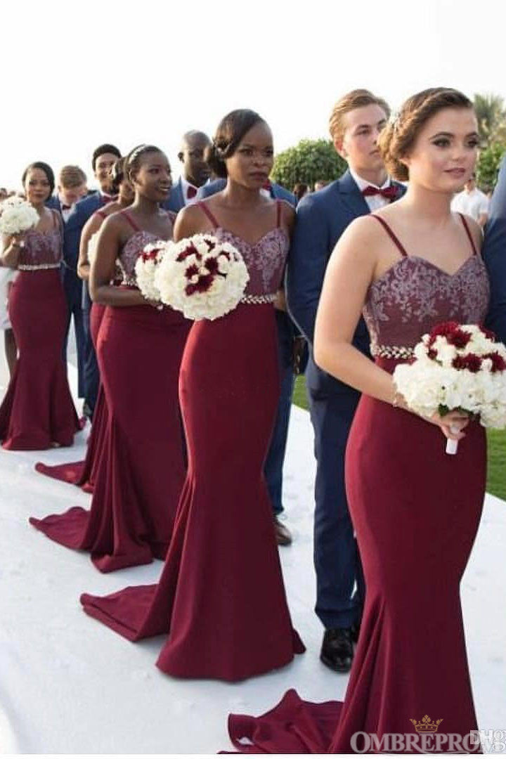 Burgundy Spaghetti Straps Sweetheart Mermaid Bridesmaid Dress B485