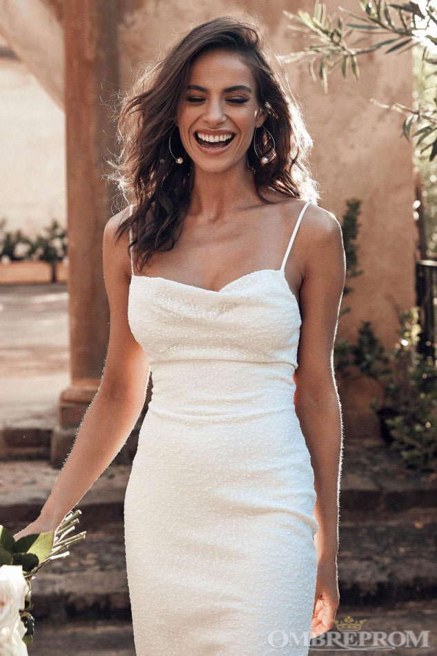 Chic Spaghetti Straps Sweetheart Backless Wedding Dresses W602