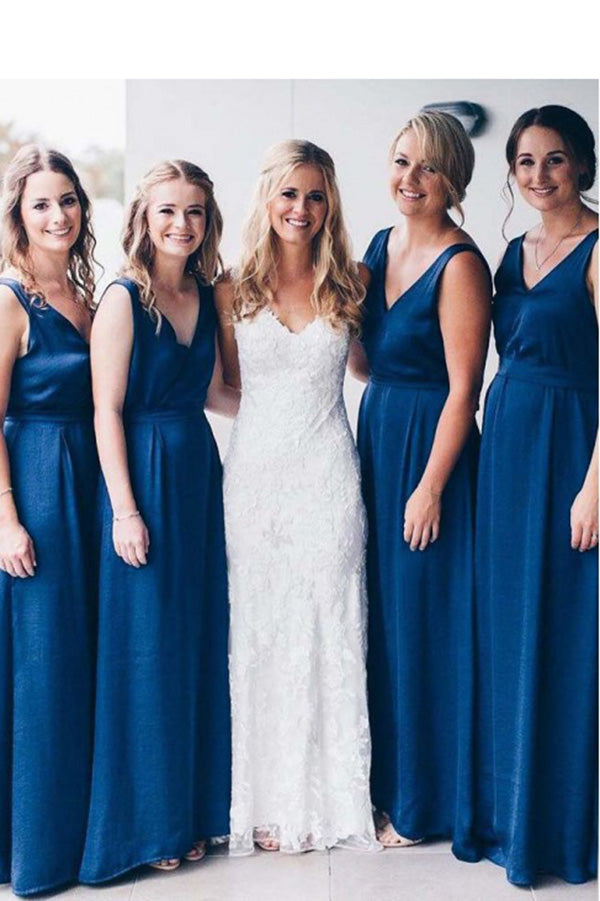 Chic V Neck Sleeveless A Line Bridesmaid Dress B517