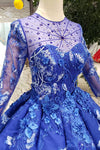 Elegant Round Neck Ball Gown with Beading Blue Prom Dress D203