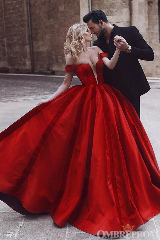 Gorgeous Off Shoulder V Neck Red Ball Gown Party Dress D37