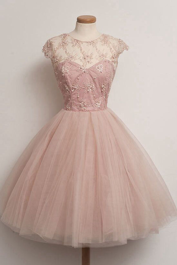 Pink Capped Sleeve Sheer Homecoming Dresses,Layers Tulle Beading Short Prom Dress