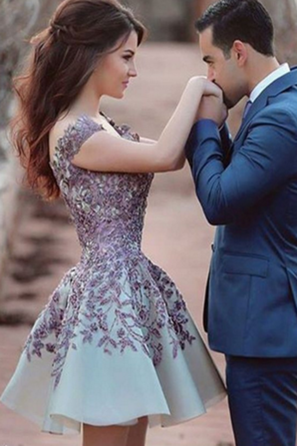 Sexy V Neck Beaded Homecoming Dress,A Line StainShort Prom Dress