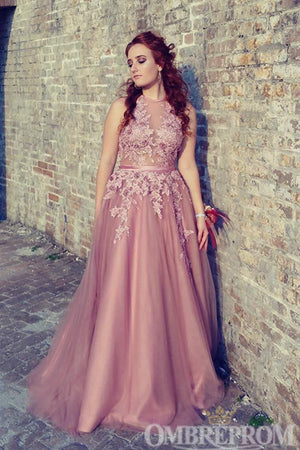 Halter Pink Lace Up Back Prom Dress Long Formal Party Gown D233